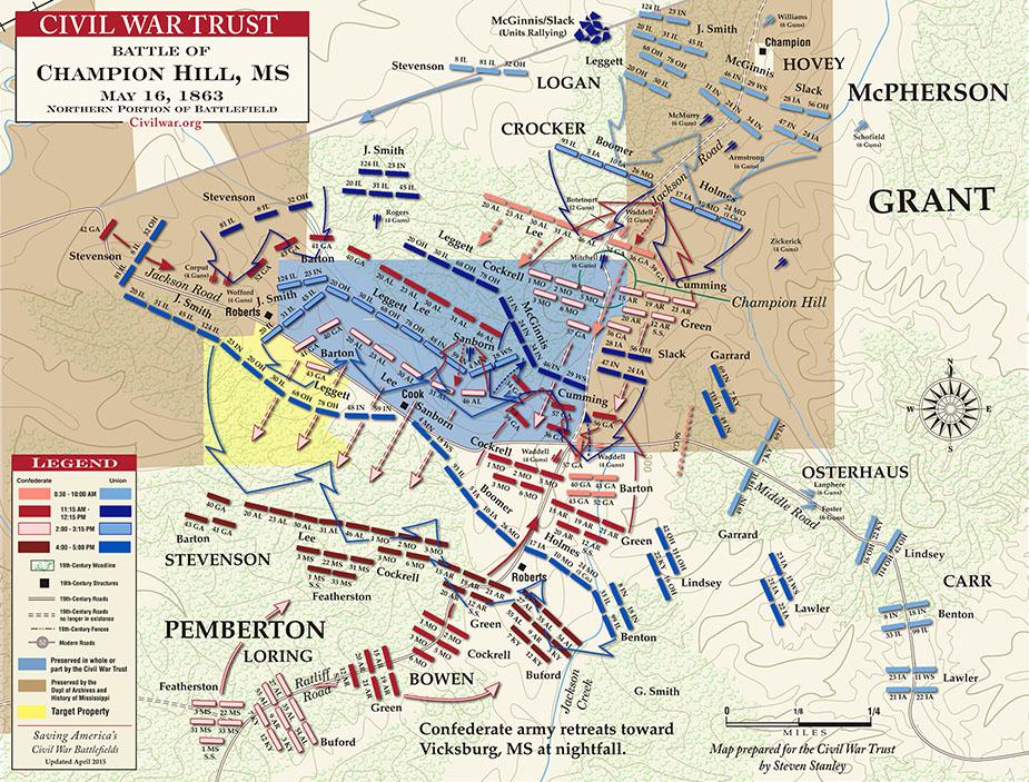 http://www.civilwar.org/battlefields/championhill/maps/championhillmap.html. Benjamin Tarpin est membre du 26e régiment du Missouri (26 MO), dans la bridage de Boomer, division Crooker